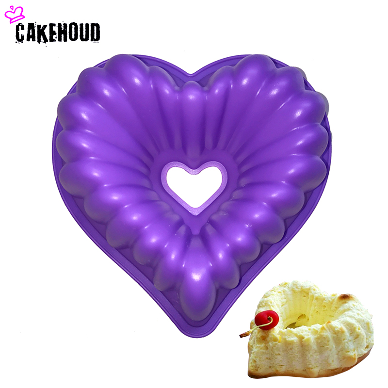 CAKEHOUD Love Heart нысаны Cake Mold Силиконның мұздату және пісіру Pastry Molds Мусус Нан Молласы Bakeware DIY Non-Stick Cake Pan