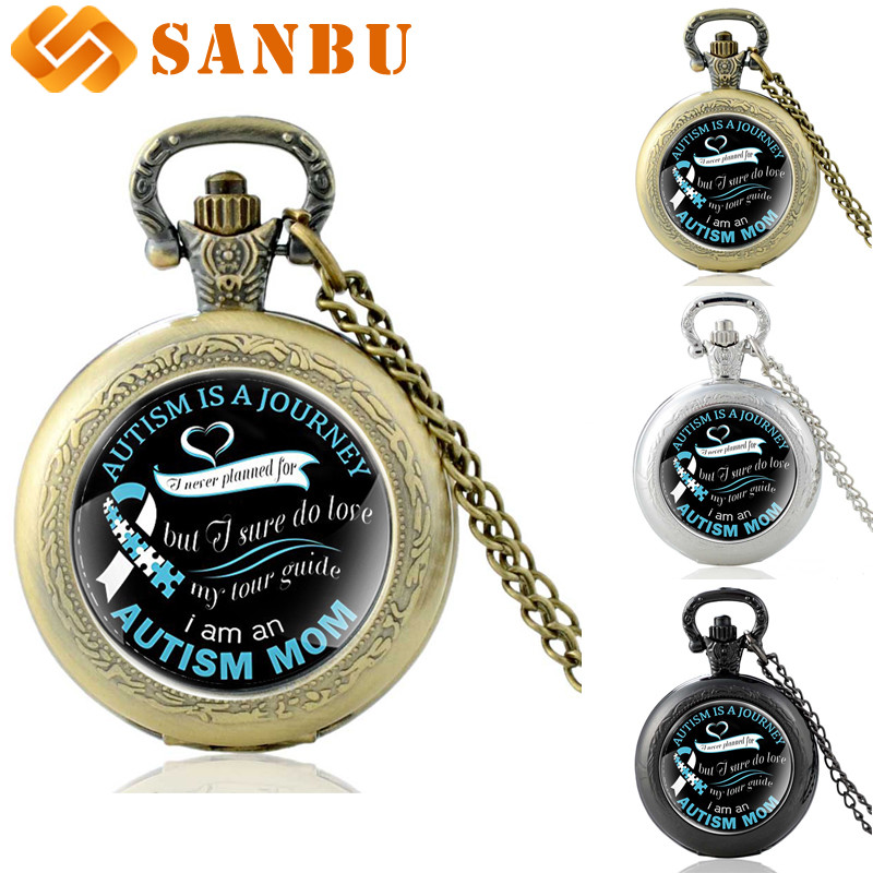 Best Gift For Mom Vintage Bronze Quartz Pocket Watch Retro Family Member Necklace 'Autism Is A Journey' Antique Jewelry