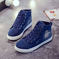New Size 40 Women's canvas shoes 2017 Spring Tide Denim Shoes Woman Zapatillas Hombre High-top White Flat Shoes