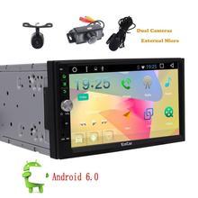 Eincar 7 pulgadas 2 din gps Android coche estéreo GPS de navegación 6.0 micrófono frontal y cámaras de seguridad espejo de enlace wifi Bluetooth