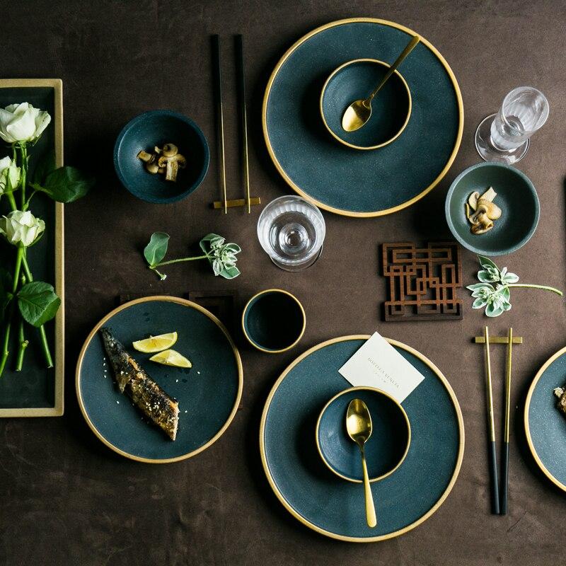><font><b>Ceramic</b></font> Gold Inlay Plates Steak Food Dish <font><b>Nordic</b></font> <font><b>Style</b></font> Retro Tableware Bowl Ins Dinner Plate Cup High End Dinnerware Set