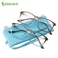 SOOLALA негабаритные женские мужские очки с полной оправой для чтения es большой рожок прозрачный объектив рамка для чтения стекло + 0,5 1,5 2,5 до 4,0