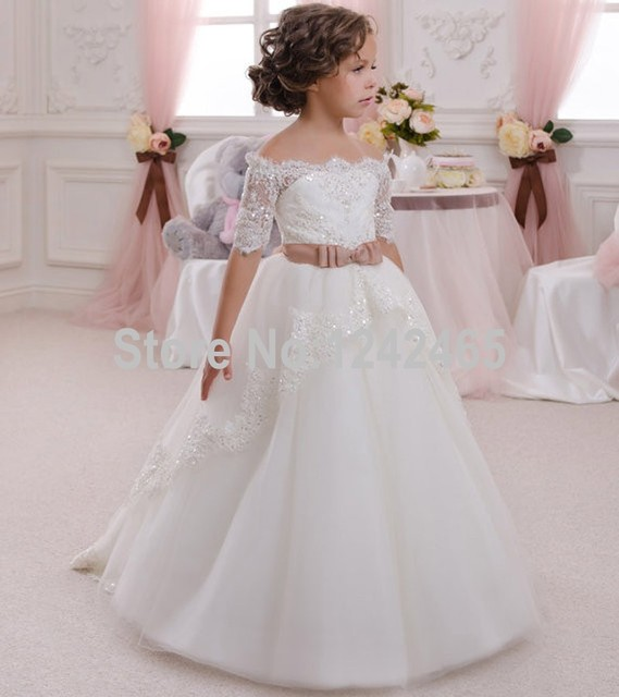 Beaded Half Sleeves Off The Shoulder Ball Gown Tulle Flower Girl ...