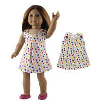 Hot Sale High Quality Colorful Heart Pattern American Girl Doll Dress For 18 American Girl Doll