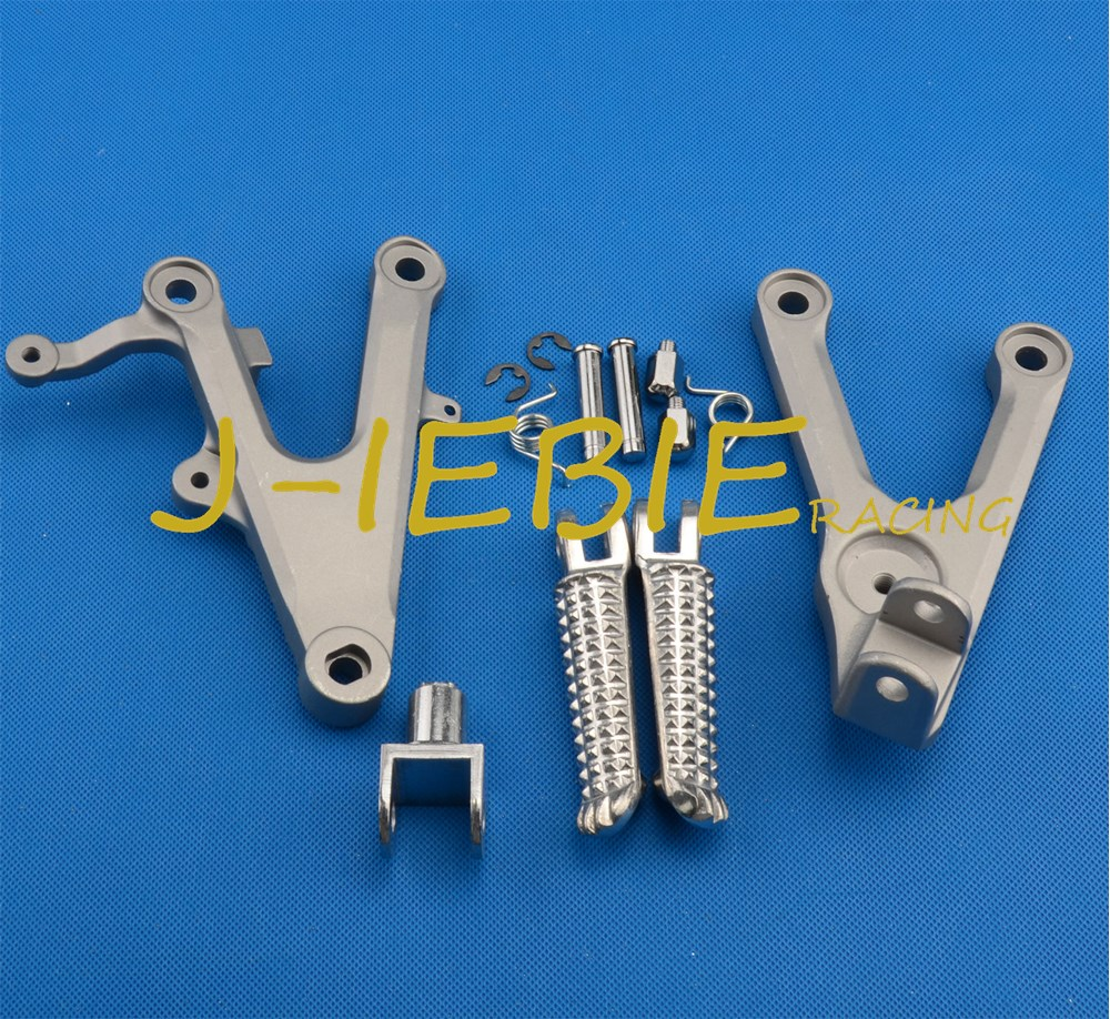Front rider Foot pegs Brackets For Yamaha YZF R6 2003-2005 R6S 2006-2009 SILVER kid s rider 1698