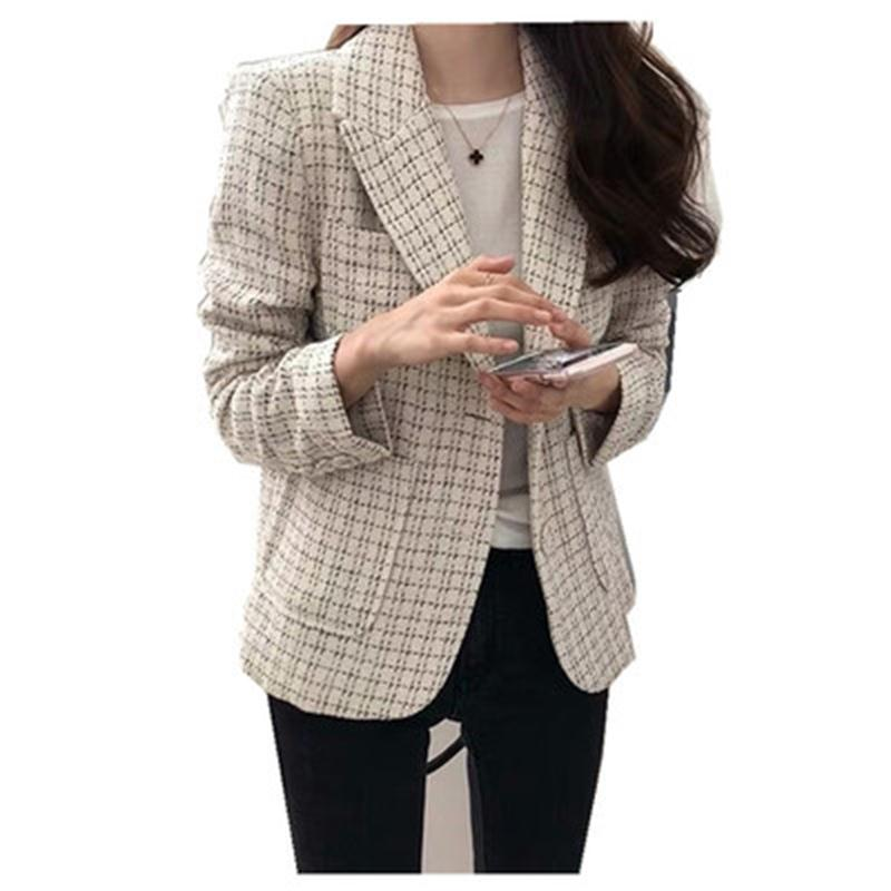 Fashio plaid Blazers Women Jackets Small suit female short coat spring and autumn New high quality retro plaid suit women coat-in Blazers from Women's Clothing    1