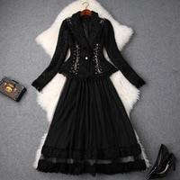 Women black tweed blazer fringe tassel chains outerwear + long mesh tulle skirt 2 piece set new 2018 winter