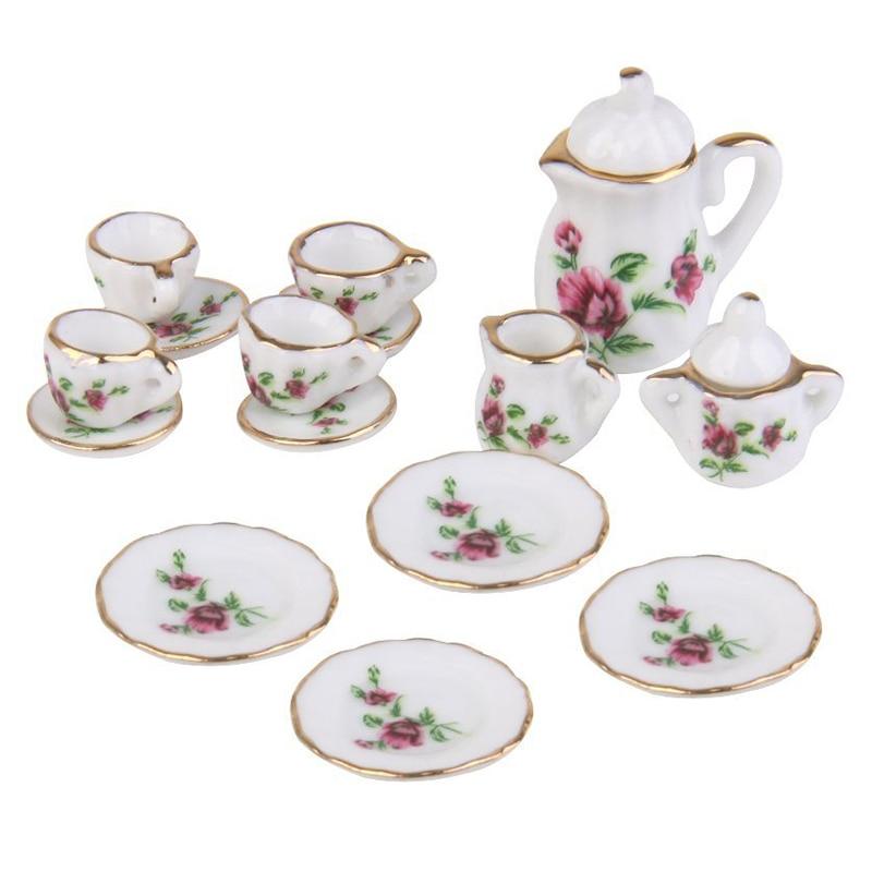 Home Learned Fbil-1/12 Dollhouse Miniature Dining Ware Porcelain Tea Set 15pc Strawberry Pattern