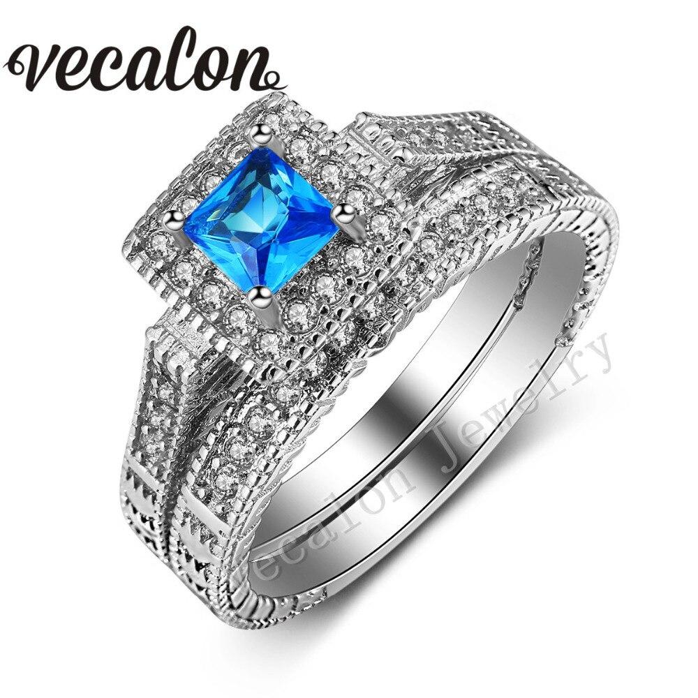 A Stone+Type Aquamarine 7CA Personalized aquamarine wedding rings Stackable Aquamarine Ring 1 20 ct tw Diamonds Sterling Silver