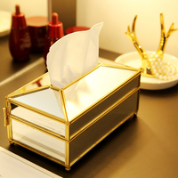 M free shipping new arrivals gold glass mirror tissue box high quality glass makeup tissue storage box with mirror cover B2311