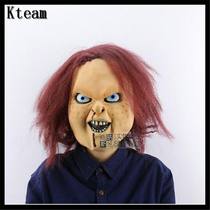 Halloween Scary Mask Bad Boy Purple Lip Adult Costume Mask Fancy Dress Party Chucky Mask ...