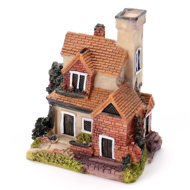 Vintage Mini Resin House Miniature House Fairy Garden Micro Landscape Home Garden Decoration Resin Crafts 4 styles Color Random 5