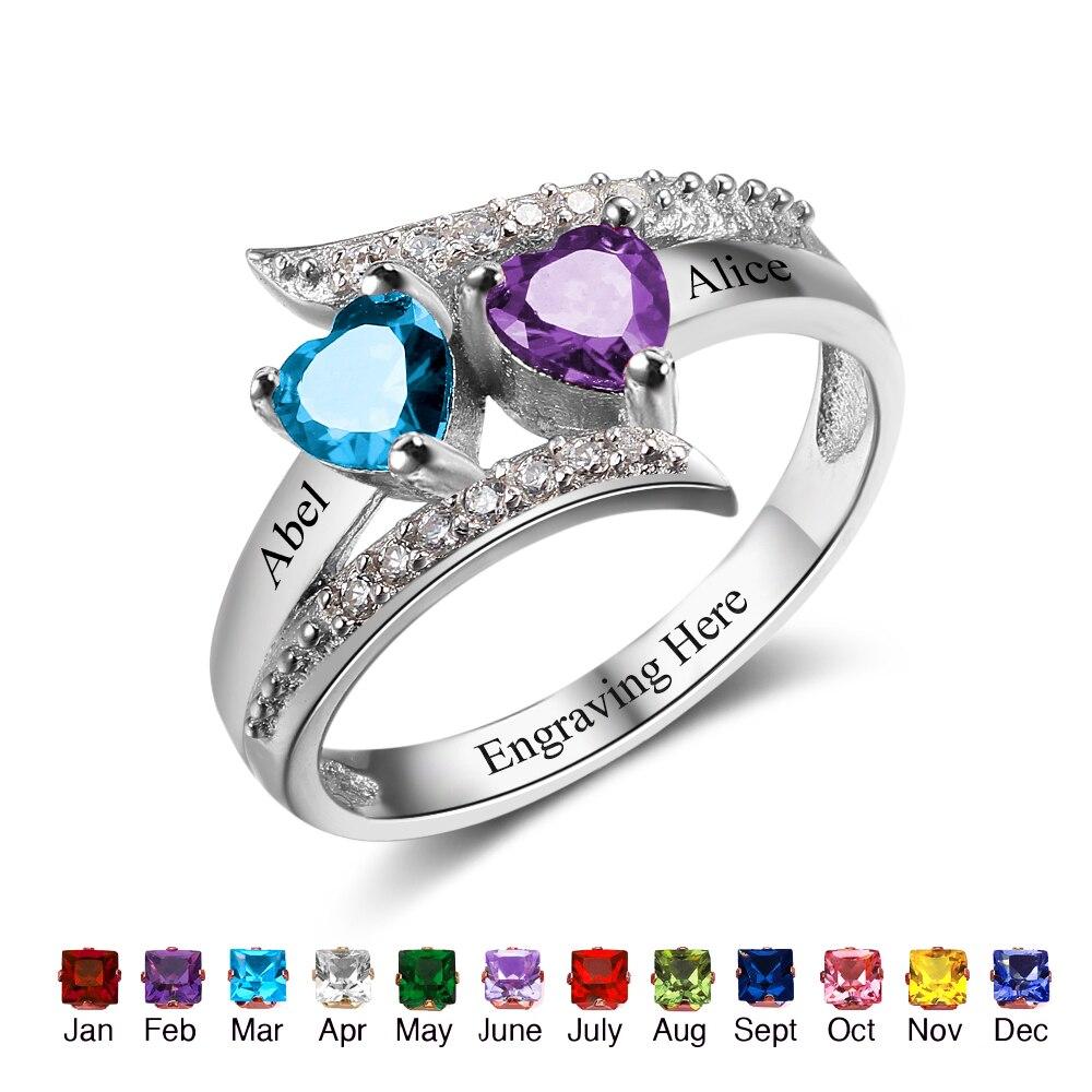 4f2c224de85a Anillos personalizados joyería de piedra de nacimiento de corazón 925  anillos de plata de ley para mujer grabado nombre caja de regalo gratis  (RI102499)