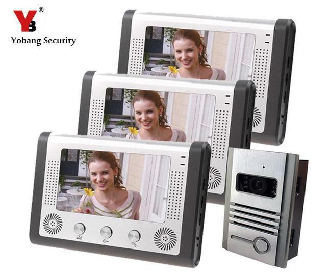 Yobang Security IR Night Vision Door Intercom 7 Home Video Door Phone Waterproof Camera Monitor&Rain Cover With Doorbell