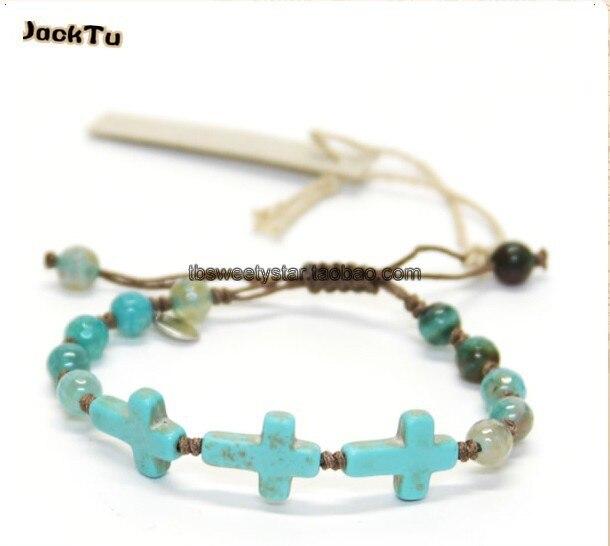 2017 blue agate cross woven single wrap bracelet