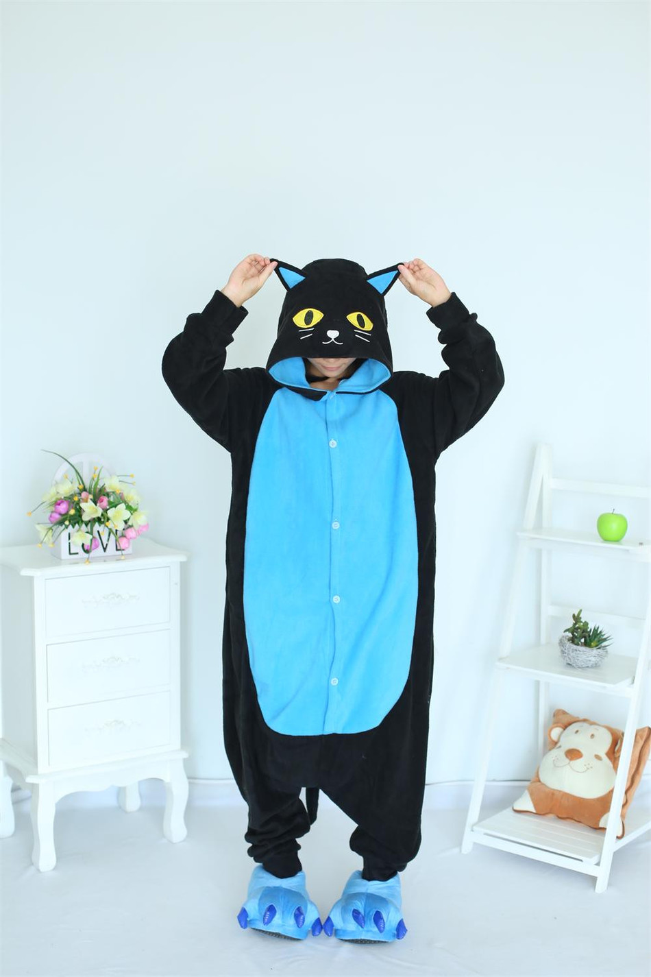 Cosplay Kostym Midnatt Katt Onesies Svart Katt Pyjamas För Unisex Vuxen Pyjamas Kostym Animal Onesie Sleepwear