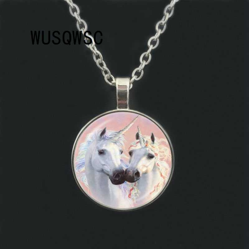 WUSQWSC Moonlight Unicorn Photo Necklace Horse with Wings Jewelry Glass Cabochon Pendant Chain Neckless Women Fashion Jewelry