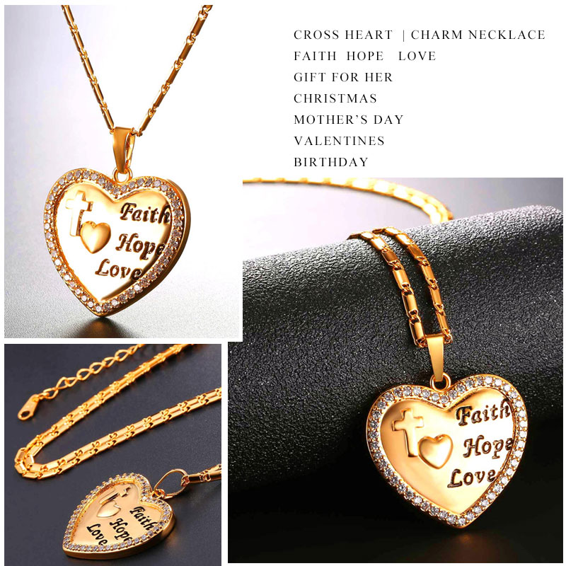 U7 goldsilver color cross heart love pendant necklace women jewelry u7 goldsilver color cross heart love pendant necklace women jewelry cubic zirconia faith hope necklaces gift for her p1123 in pendant necklaces from aloadofball Image collections