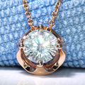 Queen Brilliance Solid 18K 750 Rose Gold 3 Carat ct F Color Lab Grown Moissanite Diamond Pendant Necklace For Women
