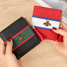 Cow Genuine Leather Little bee short Women Wallets Zipper coin Hasp purse Small Coin Hit Color  pocket sale High Quality 2019