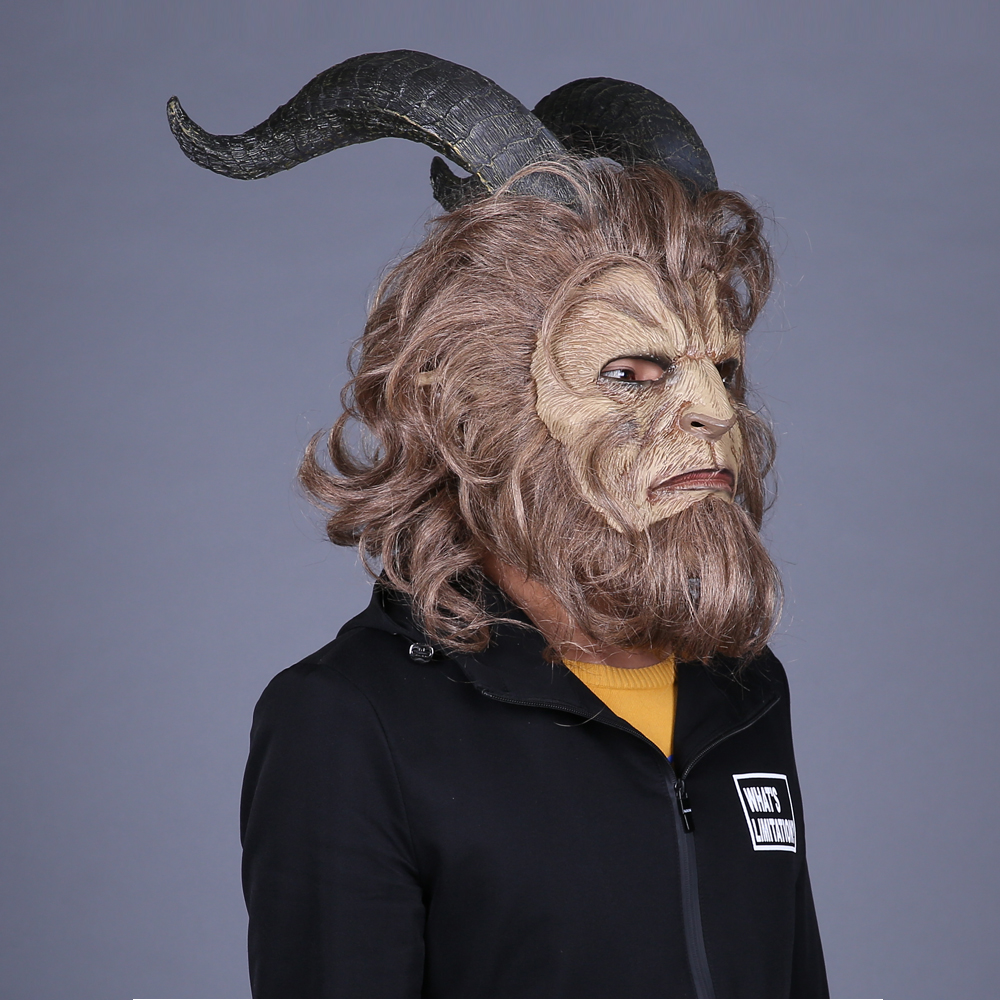 Movie Beauty and the Beast Mask Cosplay Adam Prince Horror Lion Latex - Carnavalskostuums - Foto 4