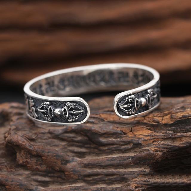 925 Sterling Thai Silver Bangle Men Jewelry Buddha Mantra Instruments Bracelet Bangle Women Gift Fine Jewelry Thailand B6 4