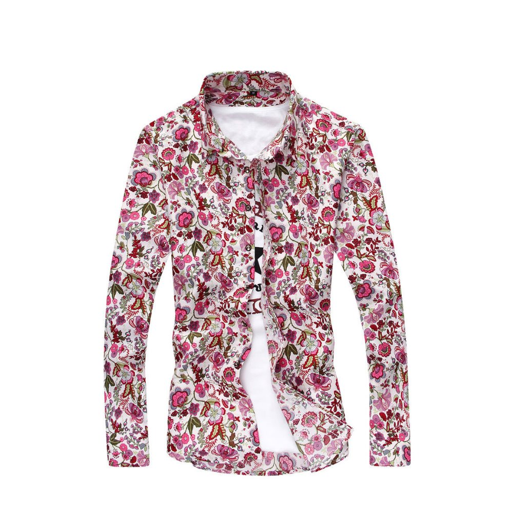 새로운 남성 인쇄 셔츠 한국어 꽃 셔츠 긴 소매 셔츠 캐주얼 턴 다운 칼라 남성 의류 2019 하와이안 셔츠
