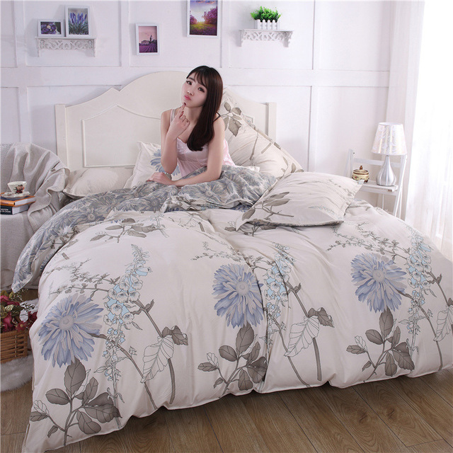 Very Nice 2017 New Bedding Set Reactive Printing Bed Sheet Duvet Cover Pillowcase Microfiber Polyster Cotton