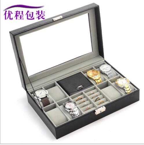8 +2 watch box jewelry box pu leather jewelry storage box display collection storage case watch organizer box holder reloj caixa
