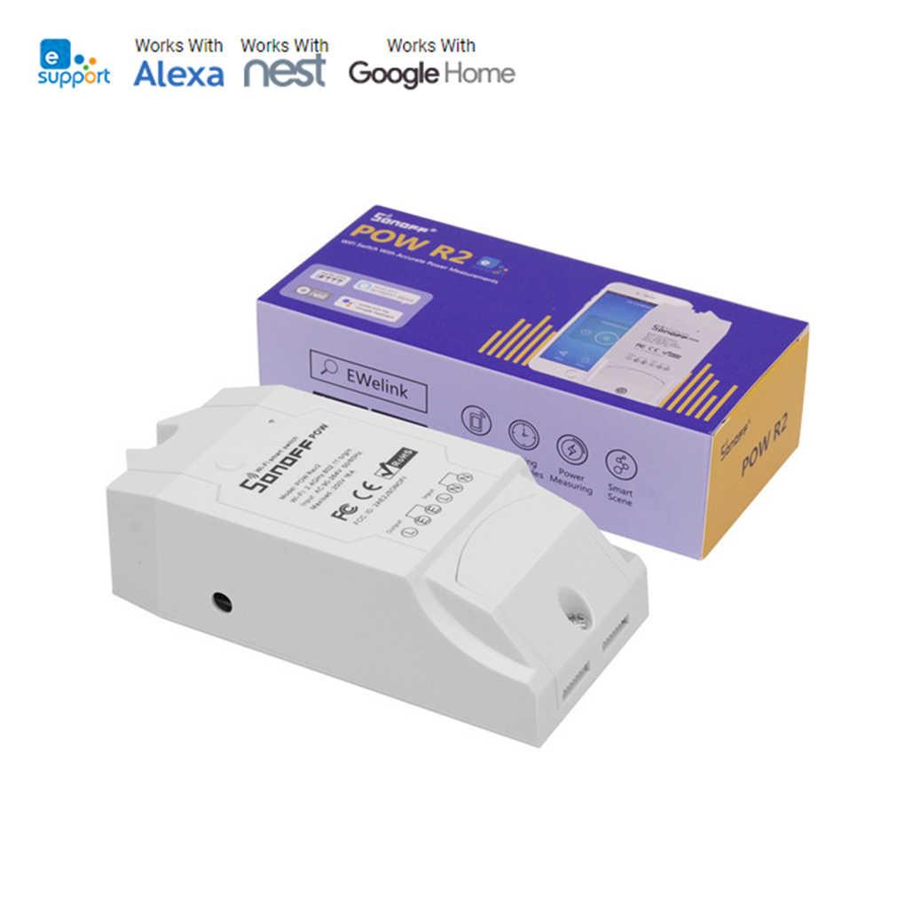 Sonoff Pow R2 interruptor de luz de Control remoto WiFi Monitor de Alimentación inteligente protección de sobrecarga temporizador de Control de voz