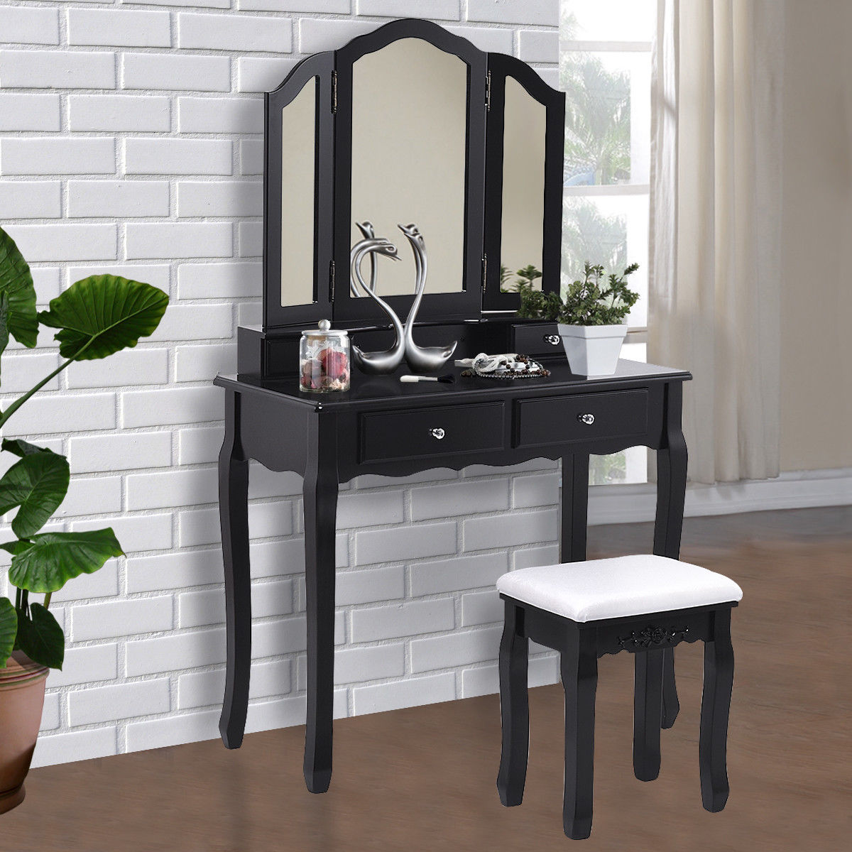 Giantex Black Tri Folding Mirror Vanity Makeup Dressing Table Stool Set Modern Home Bedroom Furniture With 4 Drawers HW55563BK giantex wood makeup dressing table stool set jewelry desk drawer mirror black home furniture hw52951bk