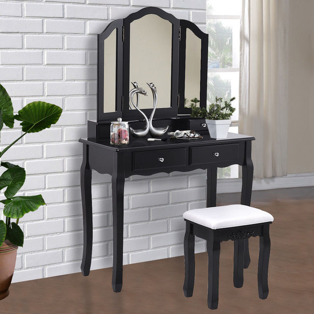 Giantex Black Tri Folding Mirror Vanity Makeup Dressing Table Stool Set  Modern Home Bedroom Furniture With