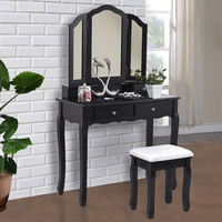 Giantex Black Tri Folding Mirror Vanity Makeup Dressing Table Stool Set Modern Home Bedroom Furniture With 4 Drawers HW55563BK