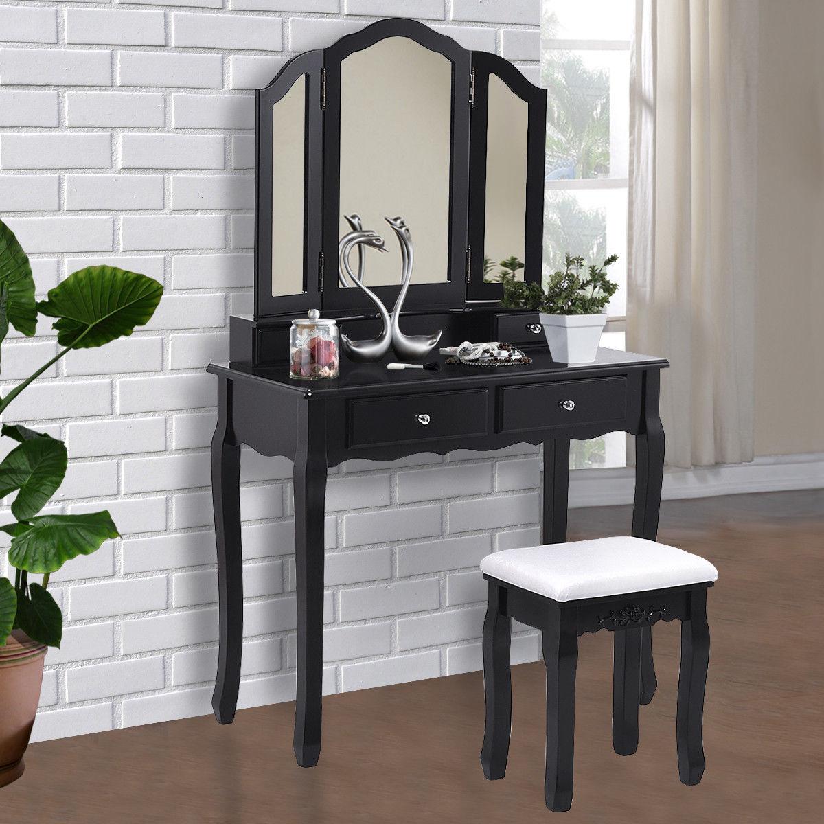 Giantex noir Tri pliant miroir vanité maquillage coiffeuse tabouret ensemble moderne maison chambre meubles avec 4 tiroirs HW55563BK
