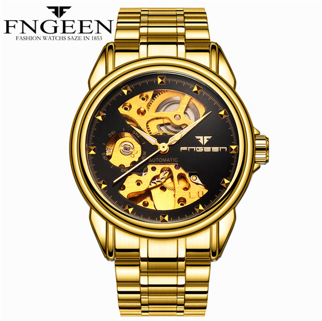 FNGEEN Luxury Golden Men Mechanical Watch Stainless Steel Skeleton Dial Special Design Watch Relogio Masculino new style sunblon s505b stainless steel mechanical skeleton watch golden movement 915