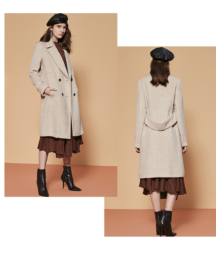 ONLY womens' winter new wool long thick woolen coat Fixed waist belt Double breasted Double breasted design|11834S543 18