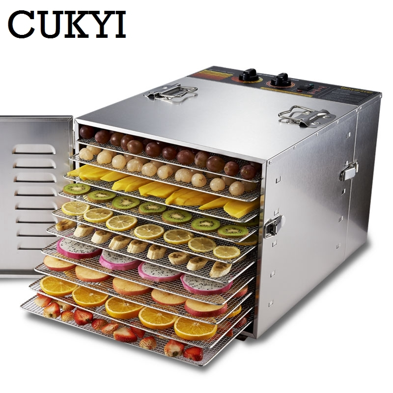 Stainless steel Food Dehydrator Fruits Vegetable Herb Drying Machine Snacks Meat Dried Commercial 10 Tiers Food Dryer 110V 220V 220v multifunction food dehydrator transparent 5 tray electric dried fruit machine fruits vegetable food dryer deshidratado