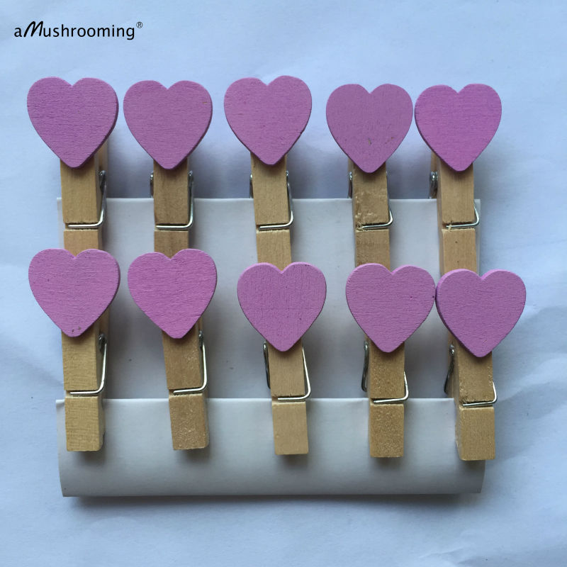 Set Of 20 Purple Rustic Wedding Decor Mini Heart Clothespins Wooden Craft  Pegs Baby Shower Supplies In Party DIY Decorations From Home U0026 Garden On ...