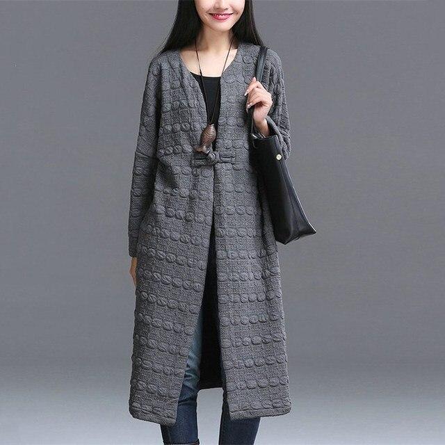 Новый Обвал Моды Старинные Случайный Quizlet Тиснением Пальто Женщины Большой Размер Сплошной Цвет Длинное Пальто Ветровки