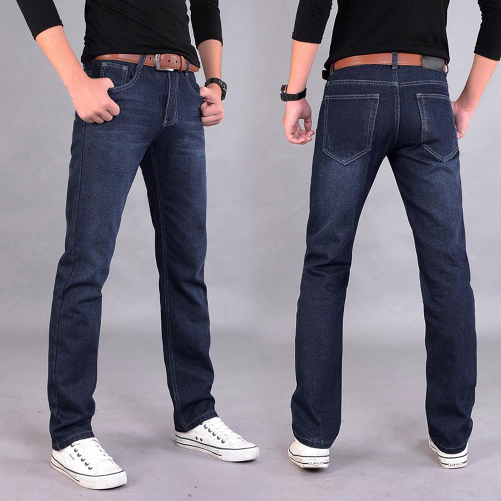 Classic Men Casual Mid-Rise Straight Denim Jeans Long Pants Comfortable Trousers Fashion
