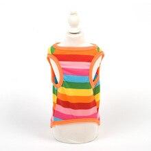 Spring Clothes The New Pet Vest 100% Cotton Rainbow Color Puppy Shirt Small Dog Casual Vest Pet T-shirt Dog Clothes Summer XS-XL