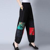 2019 Women Casual Bloomers Women National Trend Cotton Linen Pants Mid Waist Plus Size Loose Pant Trousers M XXL