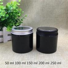 20 adet siyah plastik kavanoz baharat tereyağı krema gıda 50 100 150 200 Ml şeker şişeleri kozmetik teneke kutu organizatör konteyner