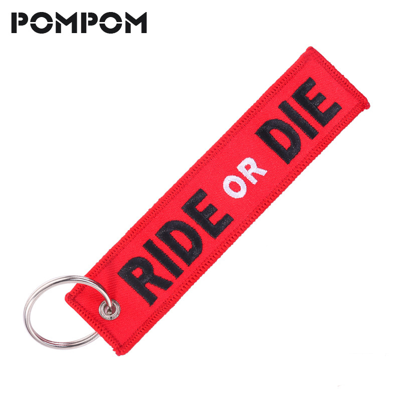 Fashion RIDE OR DIE Keychain Key Holder Chain For Motorcycle Jewelry Embroidery Key Tag Aviation Gift Llavero KeyRing For Cars