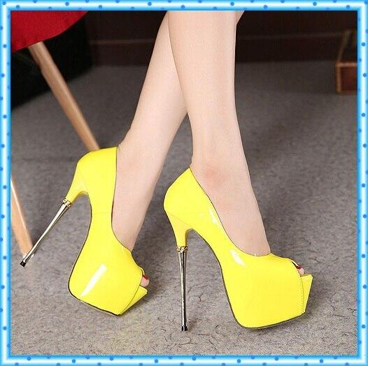 Weiß hochzeit schuhe 16 cm extreme high heels party schuhe Pumpen Stilettos  heels Plattform Peep Toe pumpen Damekleidschuhe D132 in Weiß hochzeit  schuhe 16 ... b9ee2ce3ec08