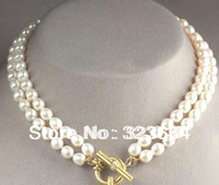 beautiful 2 Rows Real White Pearl GP Clasp Necklace