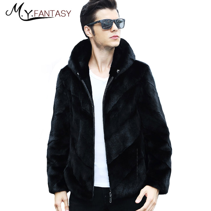 Mink-Coat Long-Sleeve Real-Fur Cool Casual Man Iron Gentleman Business Zipper with Hat