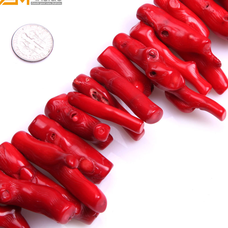 Gem-inside 40mm-50mm Large Size Red Stick Shape Coral Beads For Jewelry Making Necklace 15 DIY Jewellery Gift