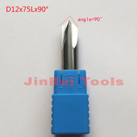 1pc D12 75L 90 Angle 12mm HRC50 4 Flutes Corner Rounding Cutters Chamfer Route Bits For
