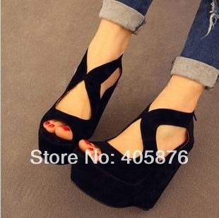Hot-selling wedges high-heeled open toe platform zipper shoe bandage black shoes sandals